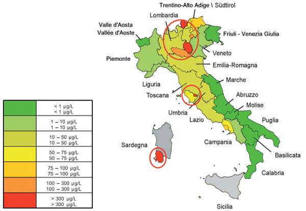 Mappa arsenico acqua italia